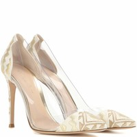 Plexi embroidered pumps