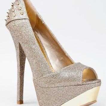 Qupid COUNT-08 Studded Spike Glitter Platform High Heel Stiletto Peep Toe Party Pump