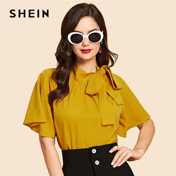 SHEIN Ginger Vintage Elegant Office Lady Flutter Sleeve Tie Neck Half Sleeve Blouse Casual Women Tops And Blouses