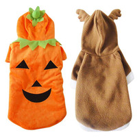 New Dog Costume Clothes For Halloween Pet Funny Clothing Pumpkin Fleece Dog Jumpsuit Coats High Quality