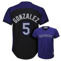 Majestic Colorado Rockies Carlos Gonzalez Fashion Batting Practice MLB Jersey - Boys 8