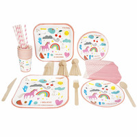RiscaWin Unicorn Cactus Birthday Party Set Supplies for 10 Pepple Paper Plates,Cups, Straws,Napkins....Disposable Tableware Sets