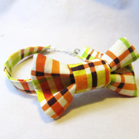 Bowtie bracelet - Bright Striped cotton Bowtie Bracelet - Cute, bowties, Bracelet, Accessory