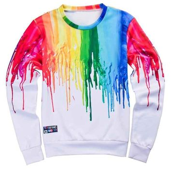 Color Melt Splash All Over Print Long Sleeve T-Shirts - Unisex Novelty Sweatshirts