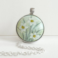 Elegant Narcissus Necklace, Daffodil, Hand Painted Pendant, Gift Jewelry, White Flower
