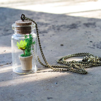 bottle necklace glass Bottle charm necklace with small Flower Pot