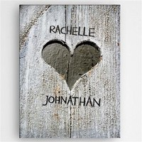 Hand Wood Carved Heart Canvas Sign Free Engraving