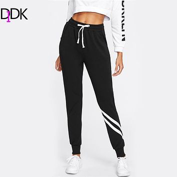DIDK Drawstring Waist Striped Trim Palazzo Sweatpants Black Mid Waist Patchwork Exercise Long Pants Bohemian  Women Casual Pants