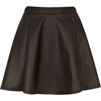 River Island Womens Black coated mini skater skirt