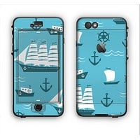 The Subtle Blue Ships and Anchors Apple iPhone 6 Plus LifeProof Nuud Case Skin Set