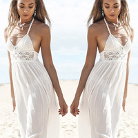 Hot Sale Star White Prom Dress One Piece Dress [10238995667]
