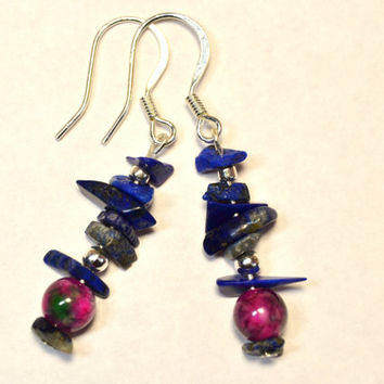 Lapis earrings, lapis lazuli, agate and lapis, silver earrings, Montana made, boho earrings, hippie chic, healing jewelry, funky dangles
