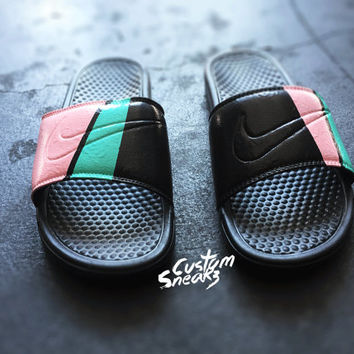 Custom Nike Sandals, Custom Nike Benassi Sliders, fashionable and trendy design, pink and teal, men & women
