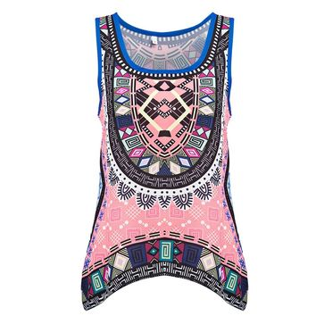 Retro Style Scoop Collar Sleeveless Tribal Print Chiffon Tank Top for Women