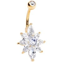 Clear Cubic Zirconia 14kt Gold Plated Marquise Petals Flower Belly Ring