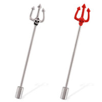 Skull pitchfork industrial straight barbell with cylinder end, 14 ga