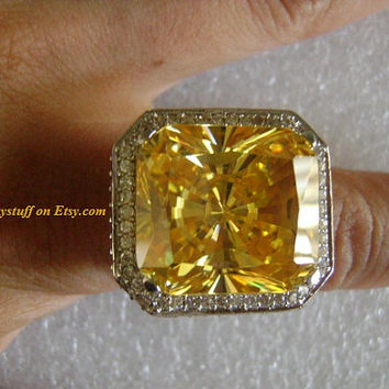 Flashy Blingtacular 47 Carat Faceted Radiant Cushion Cut Lab Created ManMade Yellow Canary Diamond Pave CZs Accents Fancy&Rich Cocktail Ring
