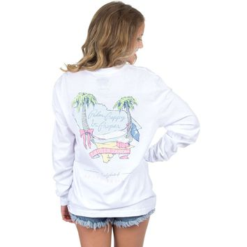 South Carolina Palm Preppy Long Sleeve Tee in White by Lauren James