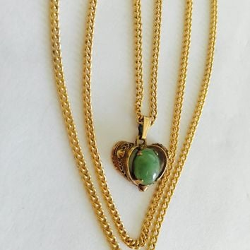 "Vintage Filigree Gold Filled Heart with Prong Set Oval Cabochon Jade Green Center on 24"" Chain Necklace Pendant"