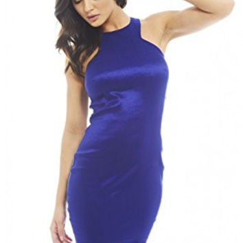 Blue Satin Sleeveless Racer Back Bodycon Dress