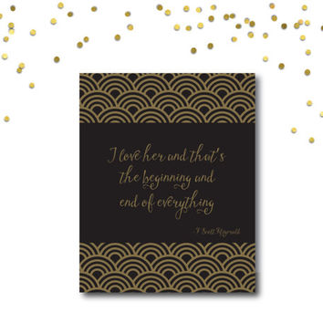 PRINTABLE Quote Art // Gatsby quote, gatsby party, gold print, gatsby print, art deco, great gatsby, quote poster, gatsby wedding,Fitzgerald