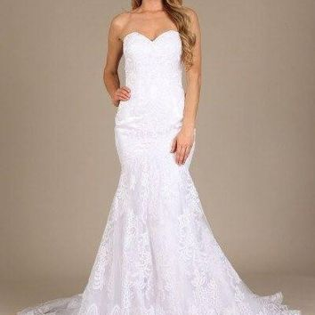 Ivory wedding dress & lace gown mt 206 - CLOSEOUT