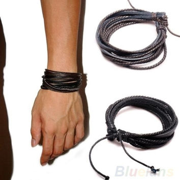Multilayer Wrap Men's Women's Synthetic Leather Braided Rope Adjustable Bracelet, cool, surfer bracelet , tribal style = 1651423812