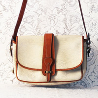 vintage creamy white dooney & bourke leather purse // handbag // brown and ivory