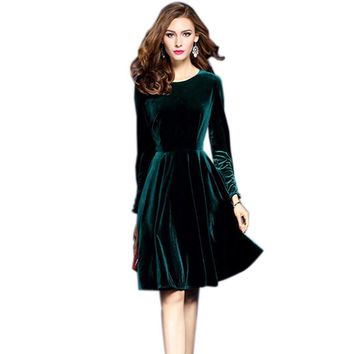 2017 Spring Plus Size Velvet Dress For Women Evening Party Dresses Vintage Elegant A-Line Robe Femme Vestidos Vestido De Festa