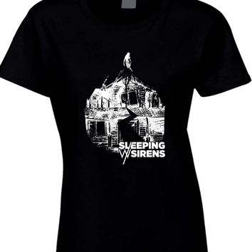 Sleeping With Sirens Logo Grayscale Black And White Womens T Shirt