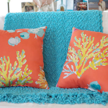 Beach Decor Orange Watercolor Coral and Sea by ByTheSeashoreDecor