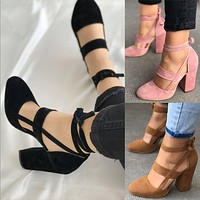 Rough with suede strap straps thick with high heels sandals women