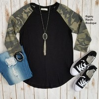 Desert Harbour Camo Raglan Top - Also in Plus Size