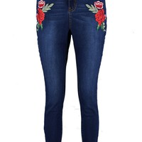 Bethany High Rise Rose Applique Skinny Jeans | Boohoo