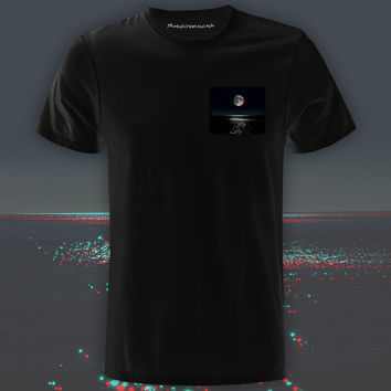 3D Glitch Moon Black Pocket Tee