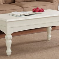 Traditional Coffee Table Vanilla White Finish Turned Legs And Apron Home Decor