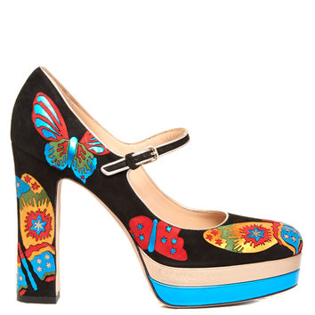 Japanese Butterfly suede Mary-Jane pumps   Valentino   MATCHESFASHION.COM UK