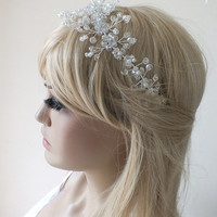 Bridal hair vine, crystals, pearls, wedding headpiece, bridal wreath, pearls and crystals twisted on wire,