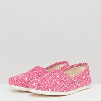 TOMS Fuchsia Shibori Dots Alpargata Shoes at asos.com