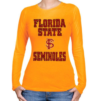 Florida State Seminoles :FSU: Ladies Gold Distressed University Logo Long Sleeve T-shirt