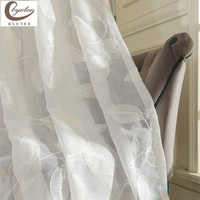 Modern White Embroidered Voile Curtains Bedroom Sheer Curtains for Living Room Tulle for Kitchen Free Shipping