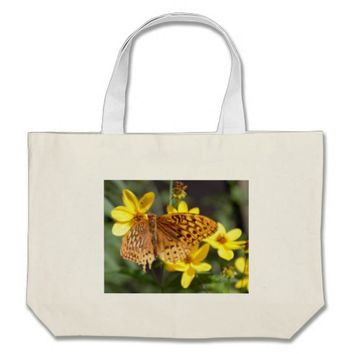 Butterfly on Yellow Flower Photo Large Tote Bag