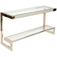 2 Tier Low Console with Beveled Glass Shelves | Silver