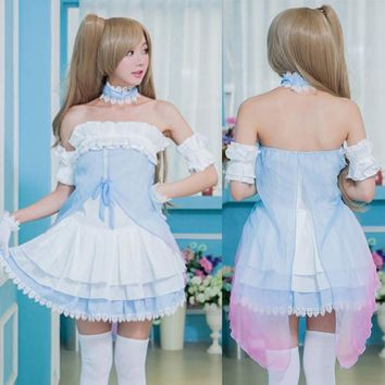 Anime Lovelive! Love Live Kotori Minami Princess Dress Cosplay Costumes Full Set Blue Fancy Dress Halloween Costume