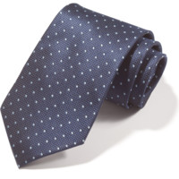 Navy Punched Windowpane Tie