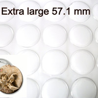 Sample pack of 4 pieces Extra large 57.1 mm epoxy stickers for mirrors, badges, pill boxes.  Clear, self adhesive stickers