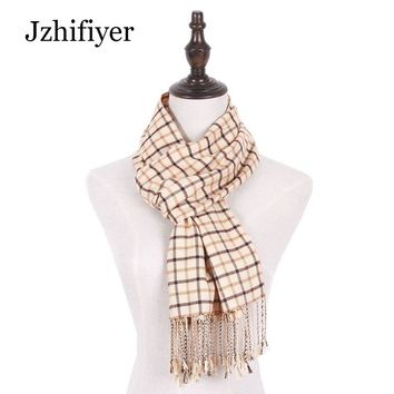 Jzhifiyer men scarf wool jacquard woven male plaid scarf tassel shawls inverno mens fashion warm scarf brand homme best gifts