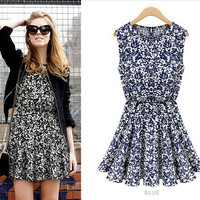 Printed Summer Dress in Blue or Black