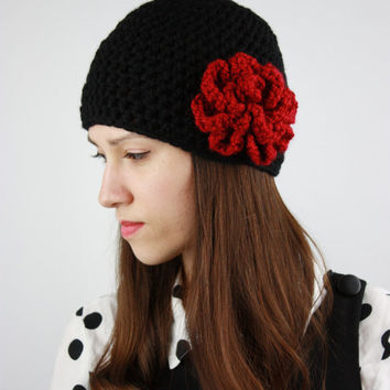Women's Beanie Hat, Crochet Hat with Red Flower, Chunky Hat, Womens Fashion, Winter Accessories, Black and Red