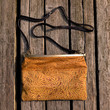 SALE --Embossed Leather Clutch Purse - Leaves Patterns